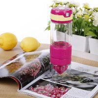 柠檬杯 双层钢化玻璃第二代手动榨汁运动便携式喝水 玫红色 D1201