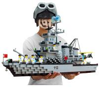 兼容乐高积木6拼装玩具7男孩子8岁航空母舰9军事智力10儿童12