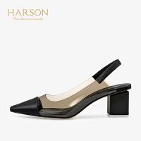 【秋冬新款 限时1折起】哈森 2019春夏新款单鞋女 多材质拼接通HM96411