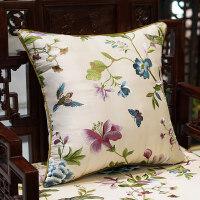 靠�|女王��s新中式靠�|沙�l�C花抱枕靠背含芯腰枕提花靠�|抱枕套 �B�Z花香 白
