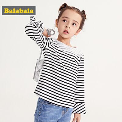 巴拉巴拉童装女童打底衫春季2019新款儿童长袖T恤小童宝宝条纹衫