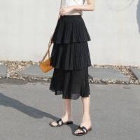 多层蛋糕裙半身裙春季女装新款夏季裙子雪纺百褶中长裙