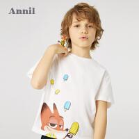 【2件4折价:95.6】安奈儿男童T恤夏2021新款迪士尼童装疯狂动物城男孩卡通上衣春夏
