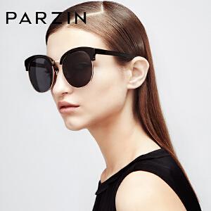 帕森太阳镜女 手造板材潮墨镜 大框修脸复古半框偏光镜 9635