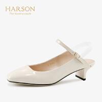 【 限时4折】哈森2019春季新款通勤牛皮革后空单鞋女 一字带猫跟高跟鞋HM93401