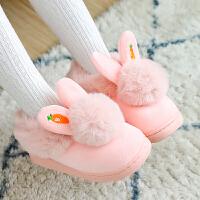 儿童棉拖鞋女童宝宝拖鞋冬保暧大童小孩母女亲子兔子居家棉鞋包跟