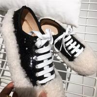 BANGDE羊羔毛毛鞋女外穿秋冬新品韩国交叉绑带平底板鞋亮片松糕厚底单鞋