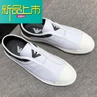 新品上市意式男鞋真皮休闲鞋保暖懒人鞋牛皮板鞋小白鞋潮