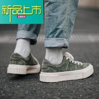 新品上市冬季板鞋青年潮流复古鞋子男休闲反绒皮鞋男鞋潮鞋纯色系带