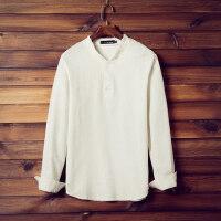 新款男士长袖打底衫 棉麻T恤衫修身纯色V领带扣领日系潮流t恤