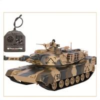 充电电动遥控坦克车可发射金属儿童对战模型男孩生日礼物玩具 标准版:美国M1 (小容量电池) 沙漠黄