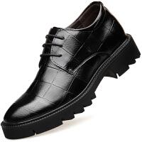 波图蕾斯英伦商务休闲鞋男士正装皮鞋厚底系带结婚增高鞋内增高8CM皮鞋