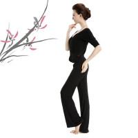 新款瑜伽服套装 女士休闲舞蹈服 长袖莫代尔上衣愈加健身服 大码瑜珈服