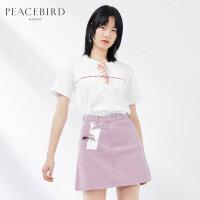 太平鸟女装白色基础圆领短袖T恤2019春夏新款字母chic上衣女