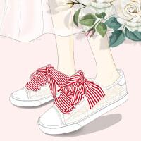 艾米与麦麦白色蕾丝鞋女百搭韩版缎带小白鞋2019夏款透气网纱板鞋