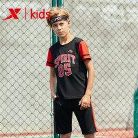 特步新品夏季童装男篮球服套装儿童背心运动套装681225389134