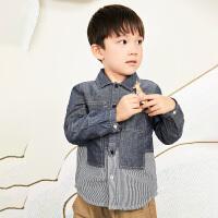 【6折价:191.4元】马拉丁童装男大童衬衫春装2020年新款拼接撞色儿童长袖衬衫