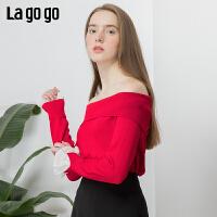 【清仓5折价161】Lagogo/拉谷谷2019年春季新款短款宽松淑女风针织衫IAMM431A24