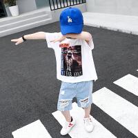 童装男童夏装短袖T恤套装儿童牛仔中裤宝宝两件套