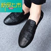 新品上市秋季男士休闲鞋真皮软底小皮鞋英伦懒人豆豆鞋潮鞋型师鞋子男夏