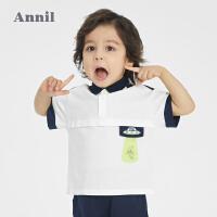 【1件5折价:71.5】安奈儿童装男童POLO衫2021新款洋气宝宝夏季翻领短袖卡通T恤上衣
