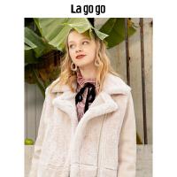 【清仓3折价359.7】Lagogo/拉谷谷2019新款pink甜美毛绒外套女HCRR25XG51