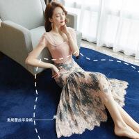 法式复古裙套装2019新款流行夏天裙子气质山本两件套蕾丝连衣裙潮
