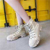第2眼男人女鞋秋季马丁靴系带学生时尚帆布运动鞋休闲鞋松糕鞋