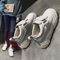 ins潮魔术贴鞋子女士时尚厚底运动鞋 韩版百搭增高小白鞋女士板鞋