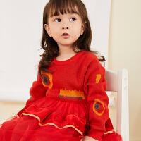 【1件5折后到手价:349.5元】马拉丁童装女小童连衣裙冬装2019新款洋气图案网纱拼接红色毛衣裙