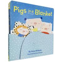 英文原版 Pigs in a Blanket 纸板书 毛毯里的猪 儿童日常生活启蒙绘本图画书 Chronicle