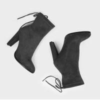 2019新款短靴高跟女靴高帮短靴女细跟靴子磨砂马丁靴裸靴及踝靴