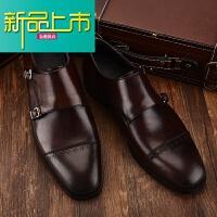 新品上市孟克鞋男 搭扣僧侣鞋男 英伦真皮商务正装皮鞋男士皮鞋