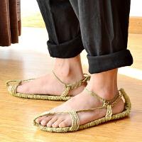夏季男女纯手工编织鞋潮人凉鞋全麻草编拖鞋复古大码红军全麻草鞋