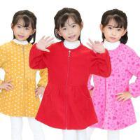 吃饭秋冬修身罩衣女儿童罩衣加绒加厚带拉链长袖宝宝羽绒服小孩衣
