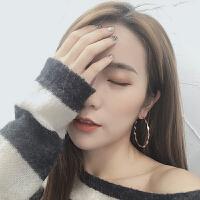 韩国ins冷淡风耳圈金属圆圈耳环个性波浪纽纹简约百搭几何耳饰女