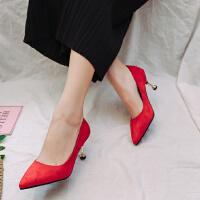中跟单鞋女5公分尖头绒面浅口细跟黑色工作宴会红色婚鞋职业高跟