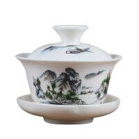 盖碗茶杯青花大号茶碗茶具陶瓷茶杯手抓壶白瓷玉瓷