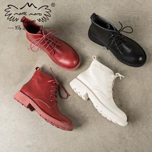 玛菲玛图马丁靴女冬季2018新款短靴圆头中跟平底及踝靴英伦复古系带机车靴57511-8