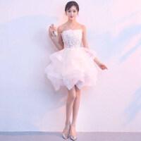 伴娘晚礼服裙女短款2019新款抹胸韩版宴会洋装派对学生夏季小礼服