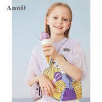 【2件4折价:87.6】安奈儿童装女童短袖T恤2021夏新款迪士尼公主女孩上衣洋气网纱袖