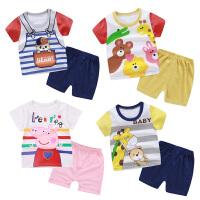 儿童夏季短袖纯棉T恤短袖套装男女童宝宝短袖短裤两件套童装