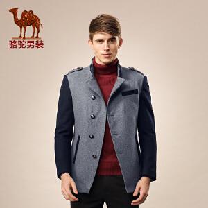 骆驼男装 秋季新款无帽立领单排扣中长款呢大衣 休闲外套 男