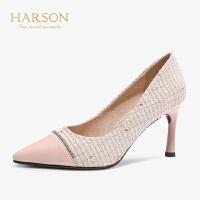 【 限时4折】哈森 2019秋季新款水钻织物单鞋女 时尚气质婚鞋 细高跟鞋HL96501