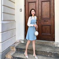 卡贝琳女2019新款秋装很仙的长袖娃娃领连衣裙女小清新蓝色雪纺裙子中长款连衣裙女