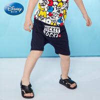 【99元3件】迪士尼男童中裤针织时尚哈伦短裤潮酷正品童装2020夏季新款