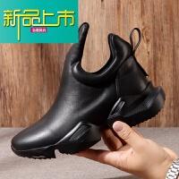 新品上市韩版潮流休闲运动鞋个性小皮鞋厚底真皮百搭潮鞋暗黑街头牛皮男鞋 黑色