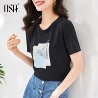 OSA夏天2021年新款黑色圆领t恤短袖女士时尚印花新品通勤宽松上衣