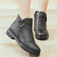 中年女靴秋冬季新款妈妈鞋加绒保暖棉鞋短靴防滑牛筋底中老年女鞋