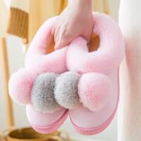 棉拖鞋女士冬季家用室内厚底可爱保暖毛绒月子鞋包跟家居家秋冬天